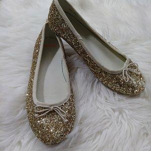 Crewcuts gold Glitter Ballet Flats